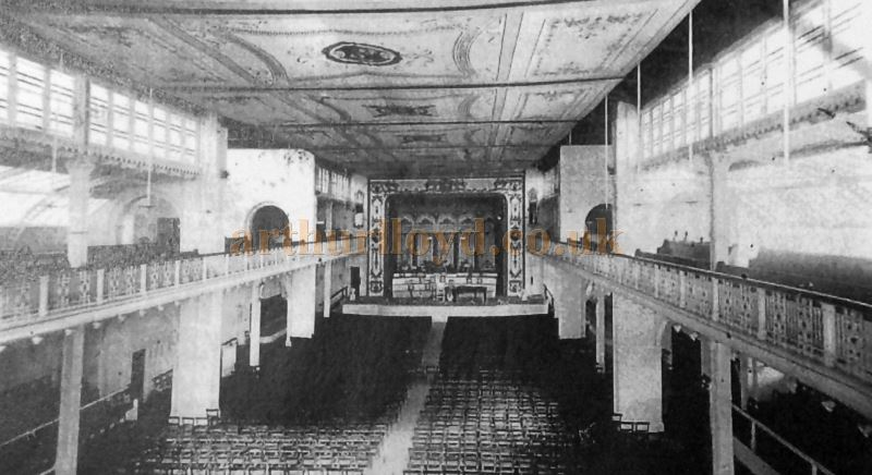 The original interior of the Llandudno Pier Pavilion showing the painted canvas ceiling - Courtesy Llandudno Library.