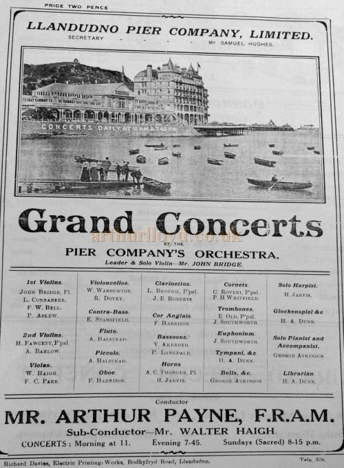 An advertisement for Grand Concerts by the Pier Company's Orchestra at the Pier Pavilion, Llandudno - Courtesy Llandudno Library.
