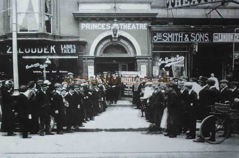 An early photograph of a crowd outside the main entrance to the Princes Theatre, Llandudno - Courtesy Roy Cross