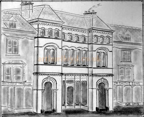 A drawing of the original exterior of the St. Georges Hall, Llandudno - Courtesy George Richmond.
