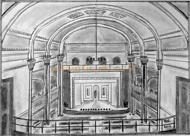 A drawing of the original interior of the St. Georges Hall, Llandudno - Courtesy George Richmond.