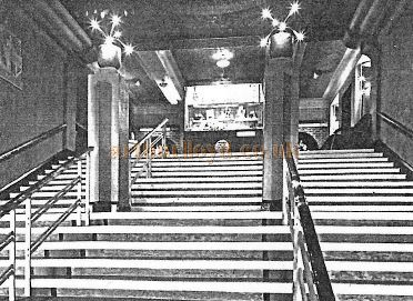 A Photograph of the Main Staircase of the Winter Garden Theatre, Llandudno held at the Llandudno Reference Library.