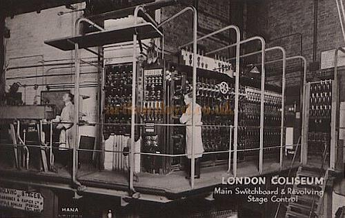 The Lighting Switchboard and Revolve Control at The London Coliseum - From a Postcard.