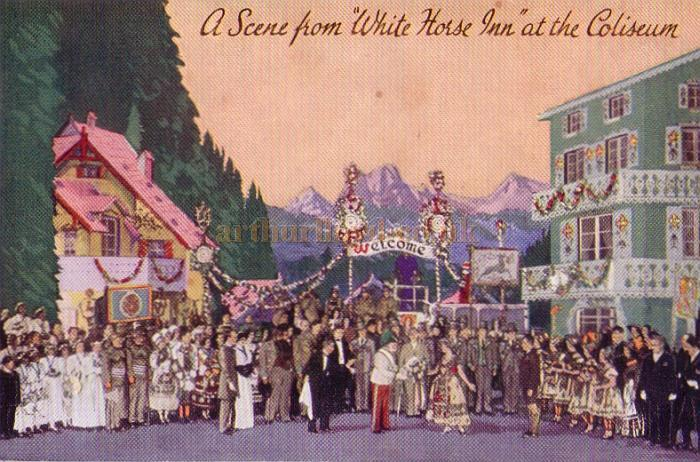 A postcard depicting a scene from 'White Horse Inn' at the London Coliseum in 1931 - Click for details of this production