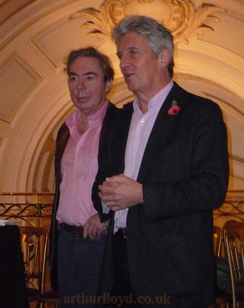 Andrew Lloyd Webber and Andre Ptaszynski, Owner and Chief Executive of LW Theatres make short speeches about the Palladium's history before toasting the Theatre's 100th anniversary - Photo courtesy Roger Fox