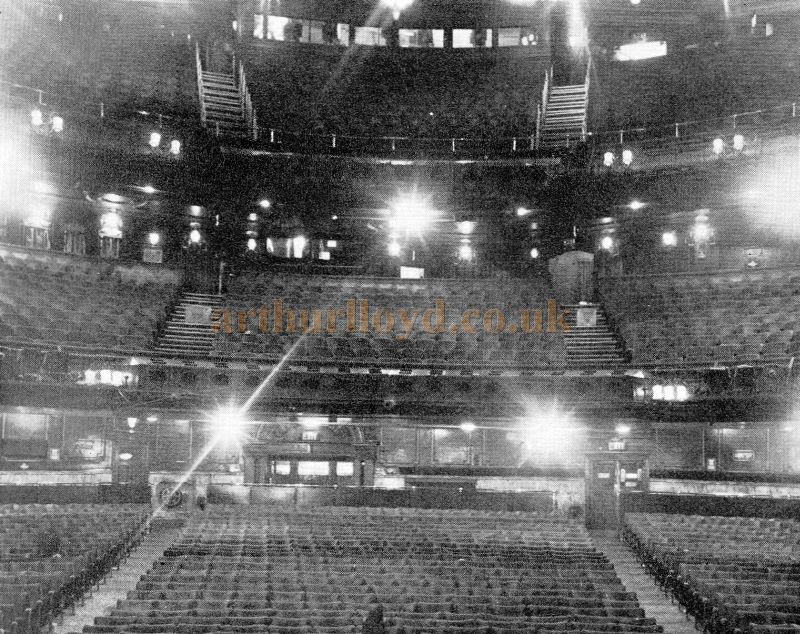 The famous London Palladium as seen by the performers - a star's-eye view of the auditorium.