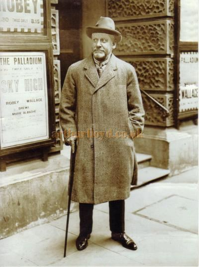 A photograph of Charles Gulliver standing outside the London Palladium during the production of 'Sky High' in 1925 - Courtesy Chris Woodward.