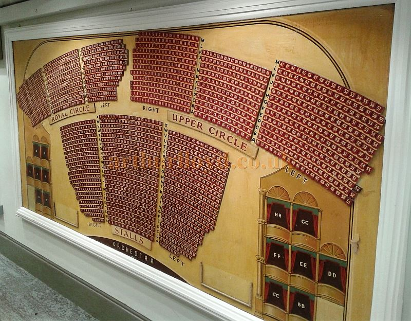 An early Wooden Seating Plan for the London Palladium, now restored and situated in the Theatre's former 'Donkey Run' - Courtesy Piers Caunter.