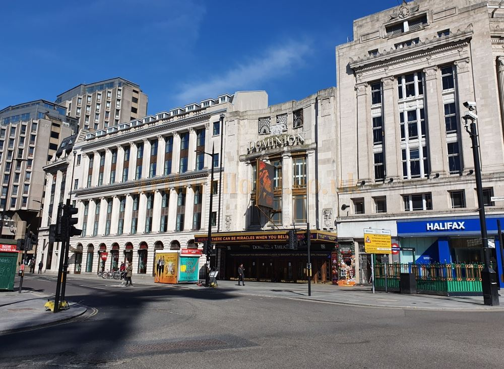 The Dominion Theatre on an empty Tottenham Court Road, usually full of traffic and people - on March the 23rd 2020 during the Coronavirus Pandemic - Photo M.L.