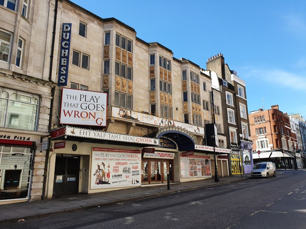 The Duchess Theatre on an empty Catherine Street - on March the 23rd 2020 during the Coronavirus Pandemic - Photo M.L.