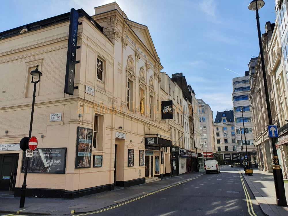 The Harold Pinter Theatre on Panton Street, normally a busy road leading from Leicester Square to the Haymarket - on March the 23rd 2020 during the Coronavirus Pandemic - Photo M.L.