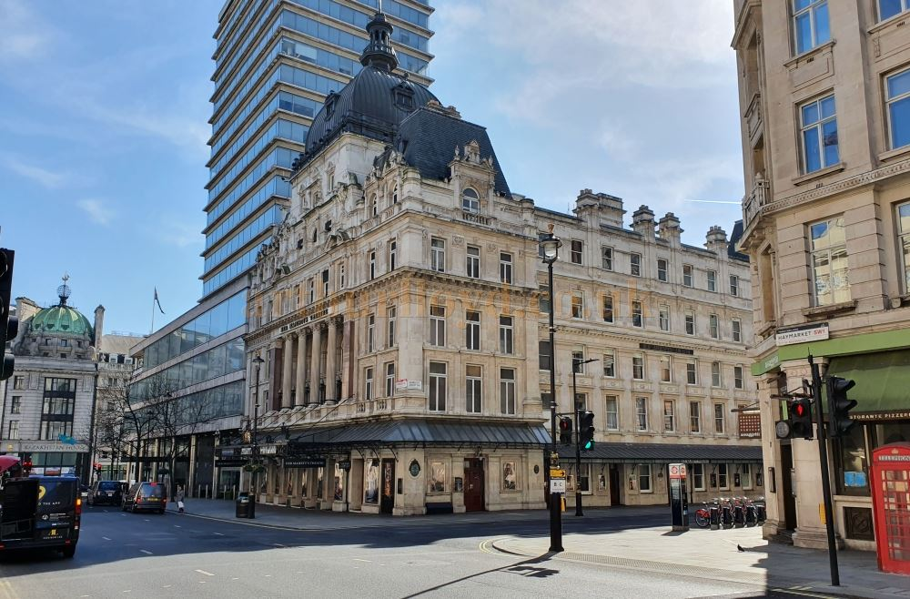 Her Majesty's Theatre on the Haymarket, a street which is normally choked with traffic and thousands of people, here standing empty - on March the 23rd 2020 during the Coronavirus Pandemic - Photo M.L.