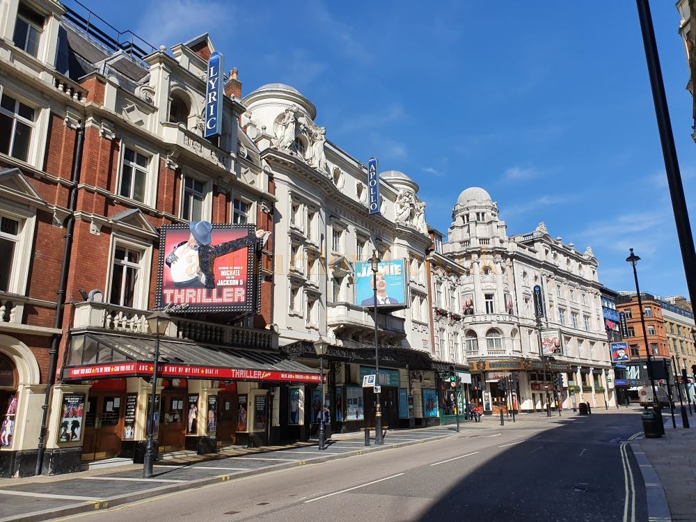 The Lyric and Apollo Theatres on a deserted Shaftesbury Avenue, normally heaving with people and traffic - on March the 23rd 2020 during the Coronavirus Pandemic - Photo M.L.