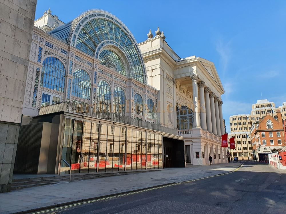 The Royal Opera House, Covent Garden situated on Bow Street, normally full of traffic and people yet here standing empty - on March the 23rd 2020 during the Coronavirus Pandemic - Photo M.L.