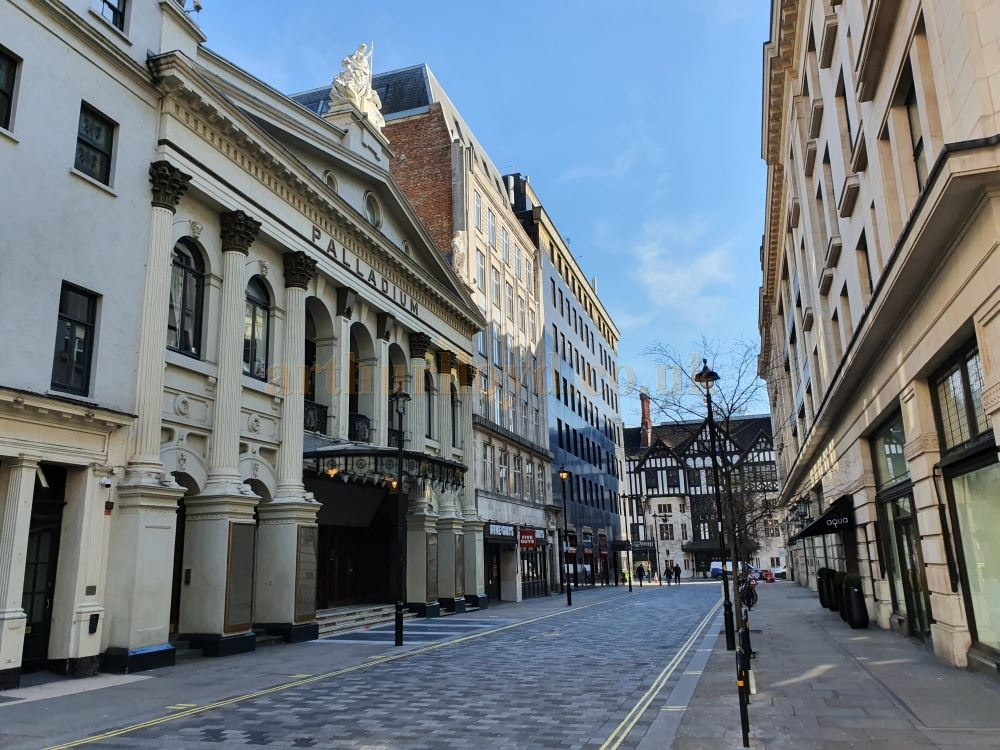 The World Famous London Palladium on Argyle Street, another street which is usually heaving with people all day long, here stands almost empty - on March the 23rd 2020 during the Coronavirus Pandemic - Photo M.L.