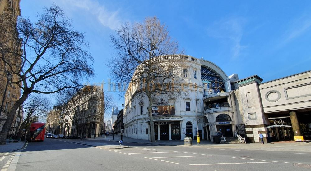 The Playhouse Theatre on Nothumberland Avenue, another street which is usually heaving with people and traffic all day long, here almost deserted - on March the 23rd 2020 during the Coronavirus Pandemic - Photo M.L.