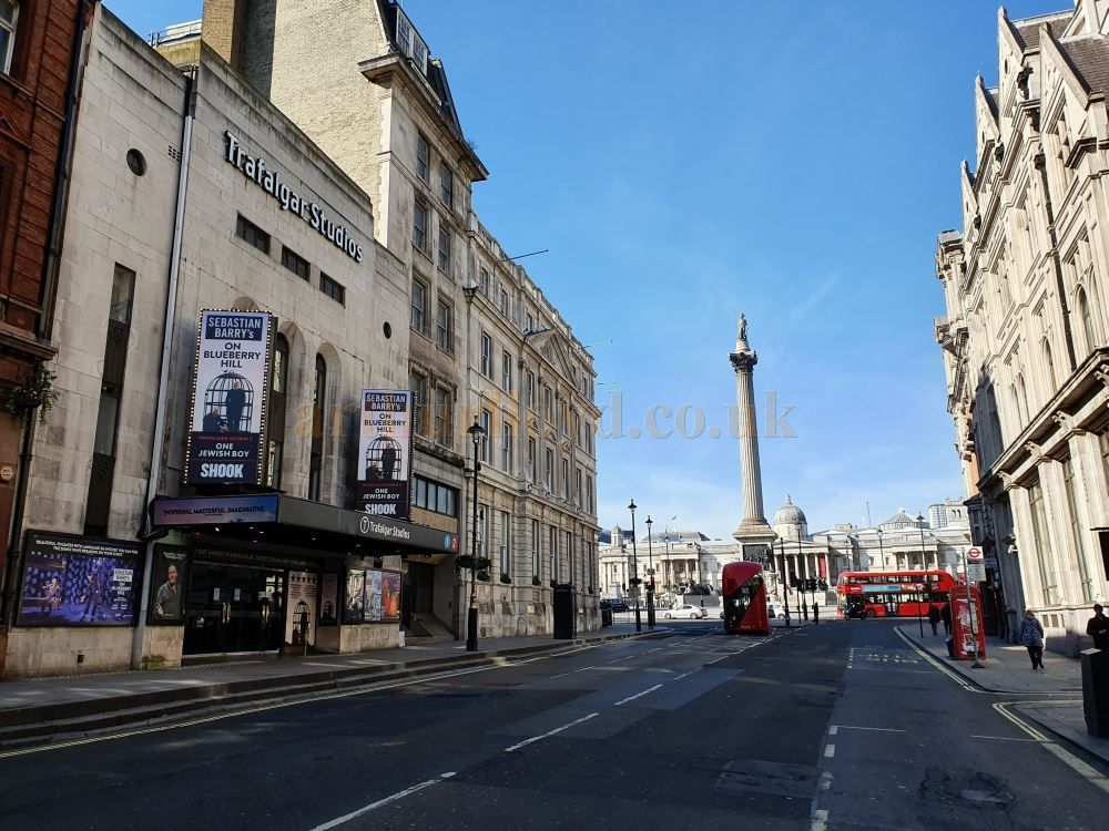 The Trafalgar Studios, formerly the Whitehall Theatre, on Whitehall, leading to Parliament Square in one direction and Trafalgar Square in the other, one of London's busiest streets, here almost deserted - on March the 23rd 2020 during the Coronavirus Pandemic - Photo M.L.
