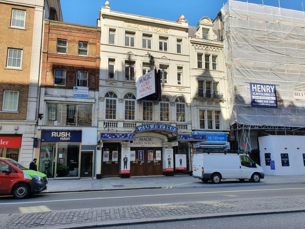 The Vaudeville Theatre on the Strand, normally heaving with trafic and people - on March the 23rd 2020 during the Coronavirus Pandemic - Photo M.L.