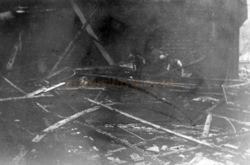A Photograph of the destruction by fire of the stage house of the Theatre Royal, Loughborough on the 13th of May 1931 - Courtesy Colin Davies.