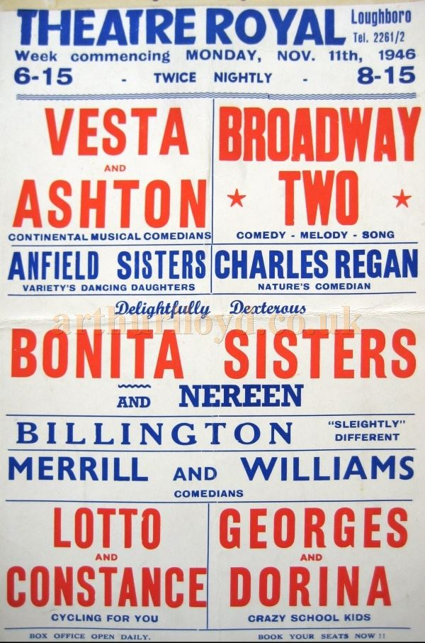 A Variety Poster for the Theatre Royal, Loughborough in 1946 - Courtesy David Garratt.