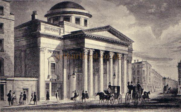 The exterior of the Lyceum Theatre in 1834 - From a programme for John Gielgud's Production of 'Hamlet' June 28th - July 1st 1939.