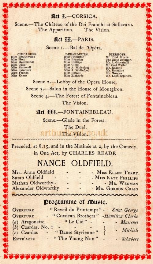 Cast details from a programme for Henry Irving's production of 'The Corsican Brothers' and 'Nance Oldfield' at the Lyceum Theatre in May 1891 - Courtesy Jacqueline Selcoe.