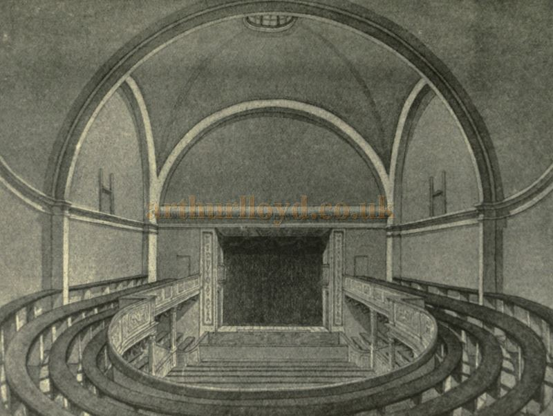 The Auditorium of the first Lyceum Theatre in 1790 - From 'The Lyceum and Henry Irving' by Austin Brereton, published in 1903.