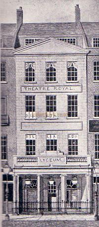 Engraving of the first Lyceum Theatre in 1809 when its entrance was on 254 the Strand - From 'The Lyceum' by A. E. Wilson 1952.