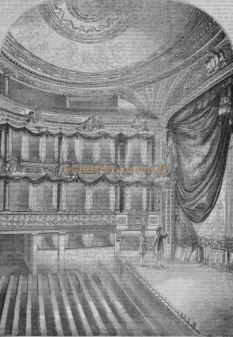 The Auditorium and Stage of the Second Lyceum Theatre - From 'The Builder' of 1847.