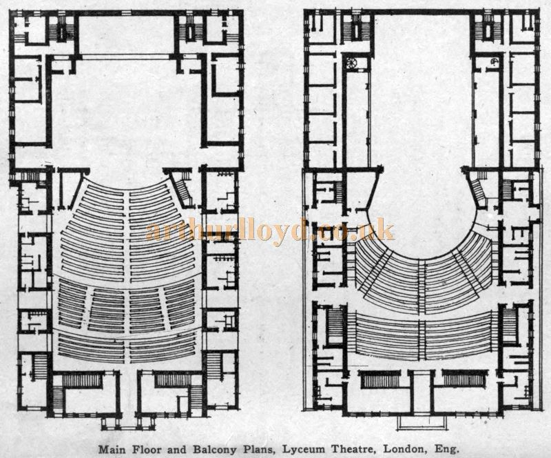 Plans of the Lyceum Theatre - From 'Modern Theatre Construction' by Edward Bernard Kinsila, 1917