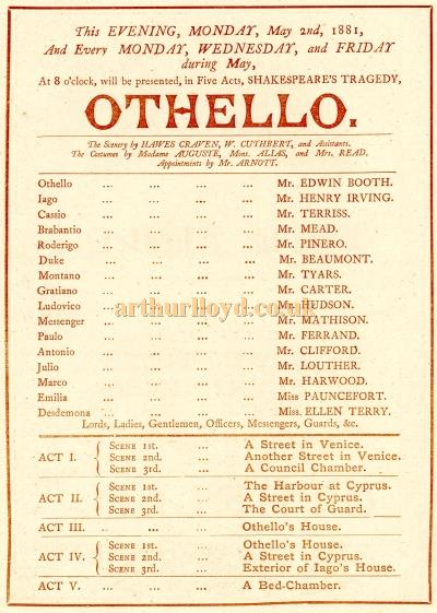 Cast Details from a Programme for Edwin Booth, Henry Irving, and Ellen Terry in 'Othello' at the Lyceum Theatre in May 1881 - Courtesy Raymond Buckland