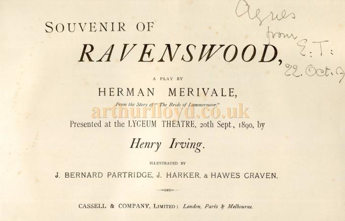 A programme for 'Ravenswood' at the Lyceum Theatre , 20th of September 1890 - Courtesy Sally Hewett.