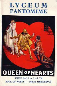 Programme for The 'Queen Of Hearts' Pantomime produced at the Lyceum Theatre on December 26th 1938.