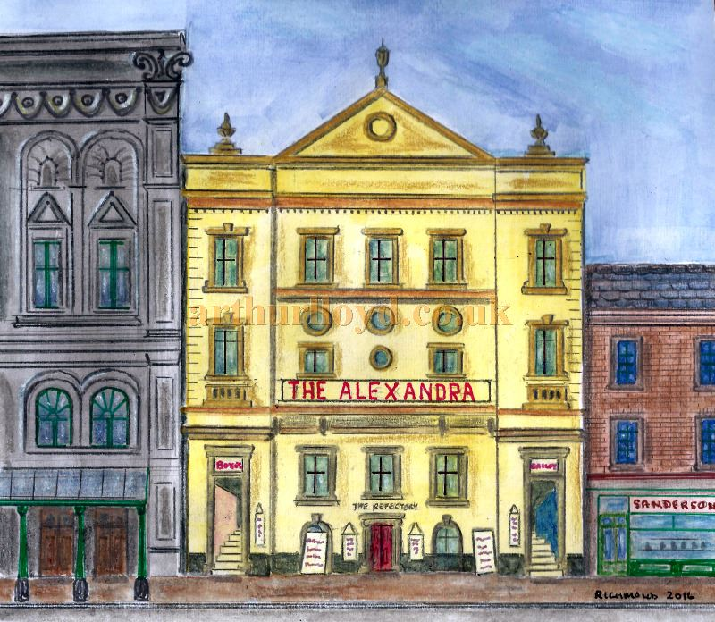 A Watercolour showing the original 1865 Alexandra Theatre, Manchester - By George Richmond August 2016.