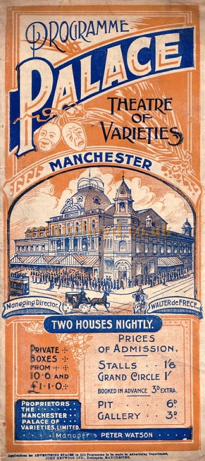 Programme for the Palace Theatre, Manchester - Courtesy Peter Charlton.