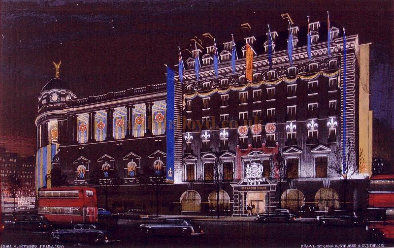 Norman Shaw's Gaiety Theatre and Marconi House, both with Coronation Decorations -  Image drawn by, and courtesy of,  John A. Strubbe and E. J. Thring A.R.C.A.
