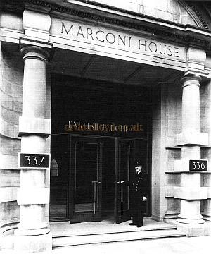The Entrance to Marconi House in 1953 after the new lettering had been cut and guilded. - Courtesy John A. Struube F.R.I.B.A.