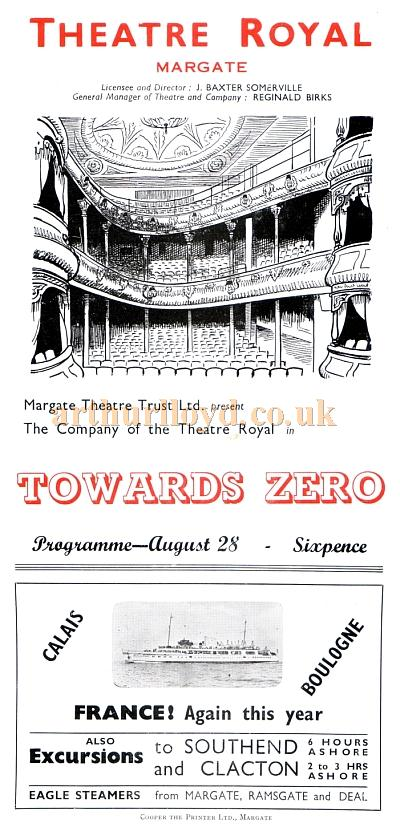 A programme for Agatha Christie's 'Towards Zero' at the Theatre Royal, Margate.