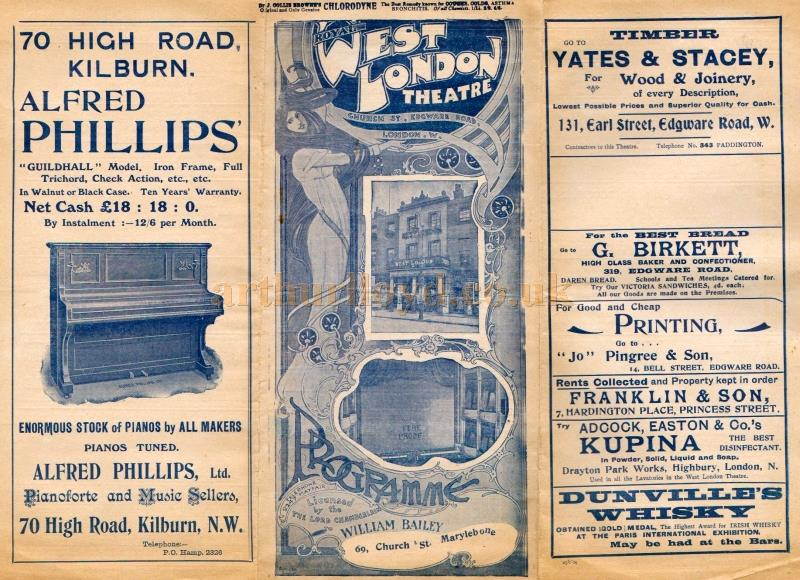 A programme for 'The Octoroon' at the West London Theatre in February 1909