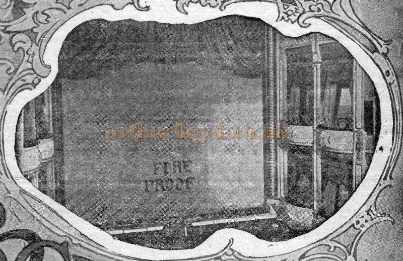 An early photograph of the auditorium and fire proof curtain at the West London Theatre - From a programme for 'The Octoroon' at the Theatre in February 1909