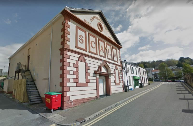 A Google StreetView Image of the former Temperance Hall / Scala Cinema, Merthyr Tydfil - Click to Interact.