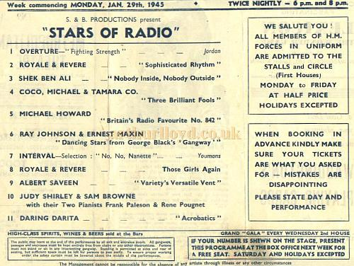 Programme detail for 'Stars of Radio' at the Metropolitan Theatre January 29th 1945 - Courtesy Alan Chudley.
