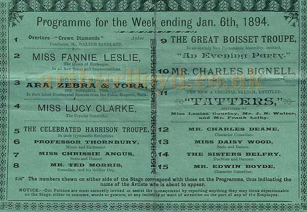 Cast details from a Metropolitan Music Hall programme for the week ending Jan 6th 1894 - Kindly donated by Mr. John Moffatt.