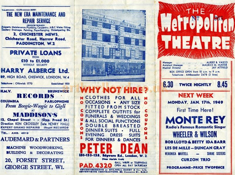 A Variety Programme for the Metropolitan Theatre from 1949 - Courtesy Tom Olding