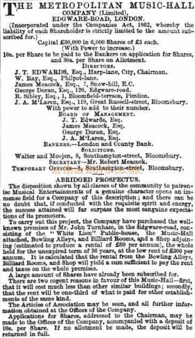 The Prospectus for the Metropolitan Music Hall - From The Morning Advertiser of March the 23rd 1864.