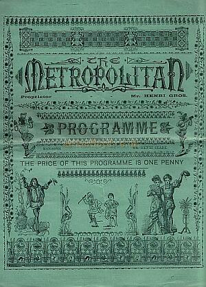 A programme for the Metropolitan Music Hall for the week ending Jan 6th 1894 - Kindly donated by Mr. John Moffatt.