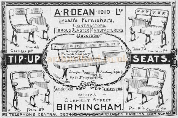 An Advertisement for A. R. Dean Ltd - From The Bioscope of March 28th 1912.