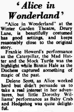 A Review for the pantomime production of 'Alice in Wonderland' at the Winter Garden Theatre in 1959 - From the Norwood News, 8th January 1960.