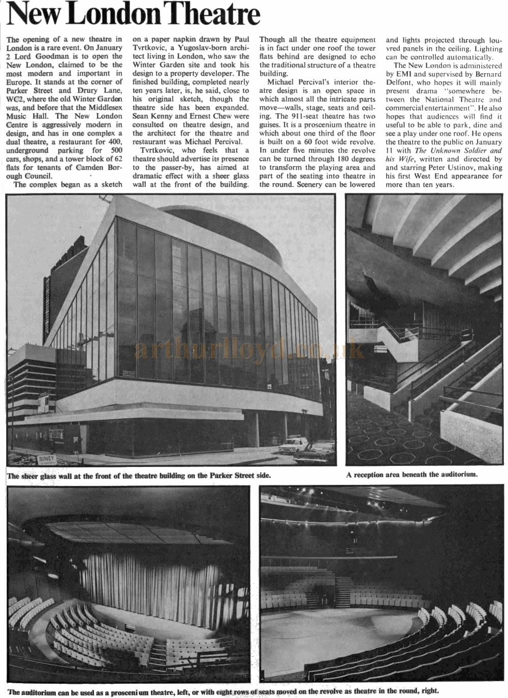The Illustrated London news reports on the New London Theatre in their 1st of January 1973 edition.