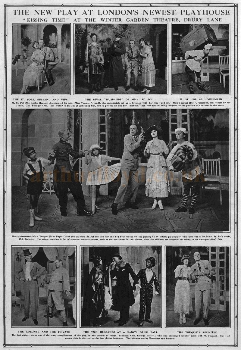 A New Play at London's Newest Playhouse, 'Kissing Time' at the Winter Garden Theatre, Drury Lane - From the Graphic of 28th of June 1919.